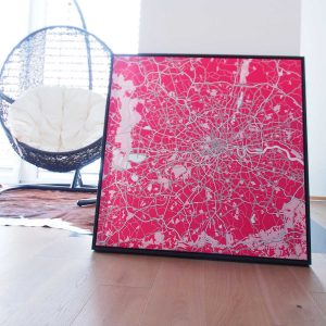 canvas square map london pink