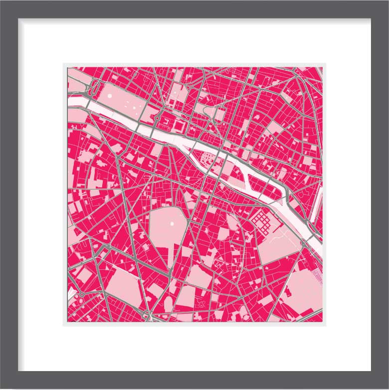 Matt print 30cm x 30cm Paris strawberry milk