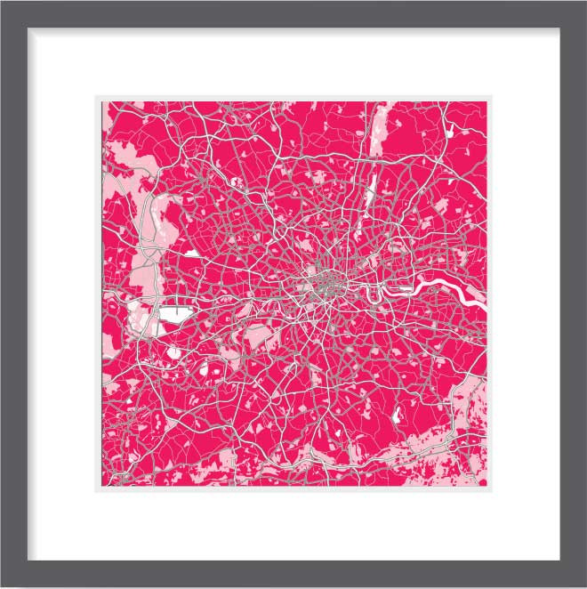 Matt print 30cm x 30cm London Strawberry Milk