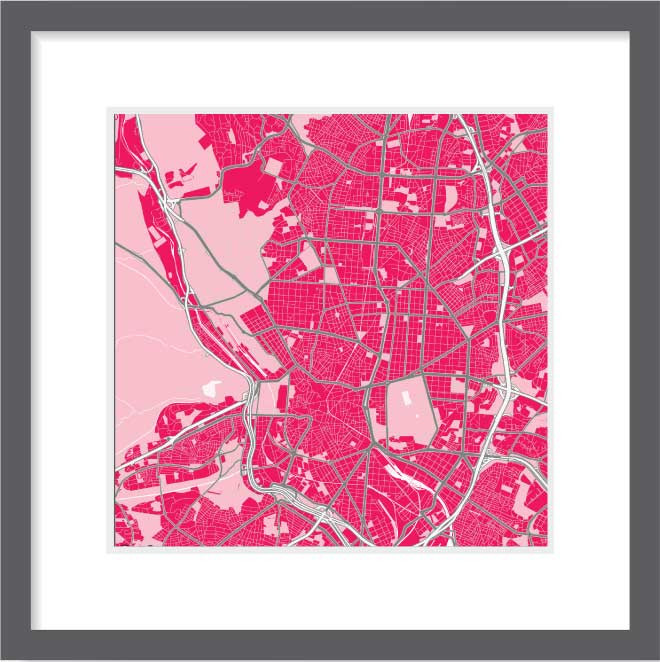 Matt print 30cm x 30cm Madrid Strawberry Milk