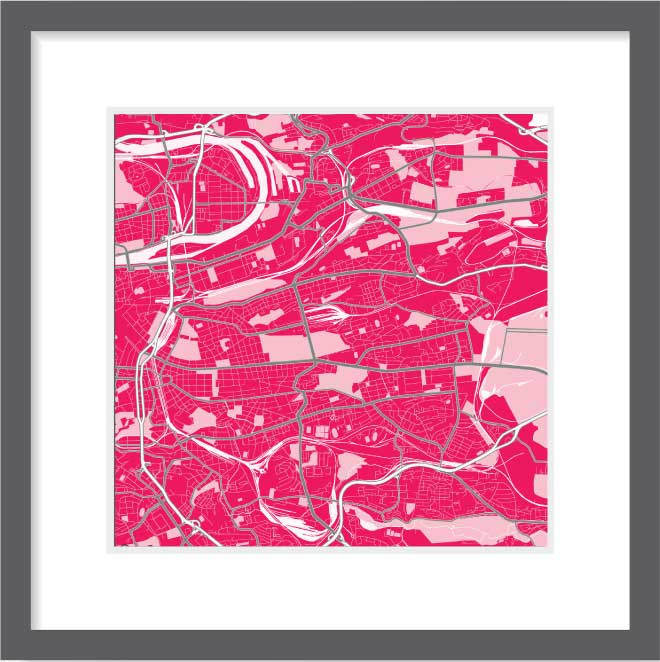 Matt print 30cm x 30cm Prague Strawberry Milk