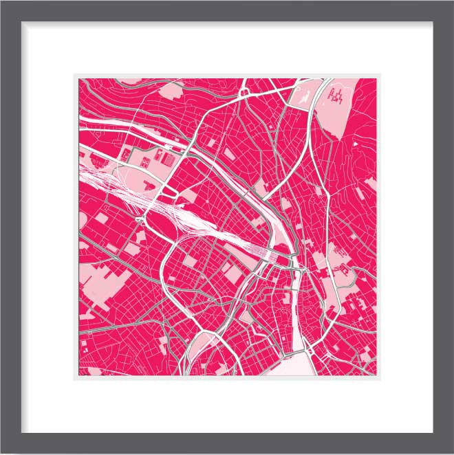Matt print 30cm x 30cm Zurich Strawberry Milk