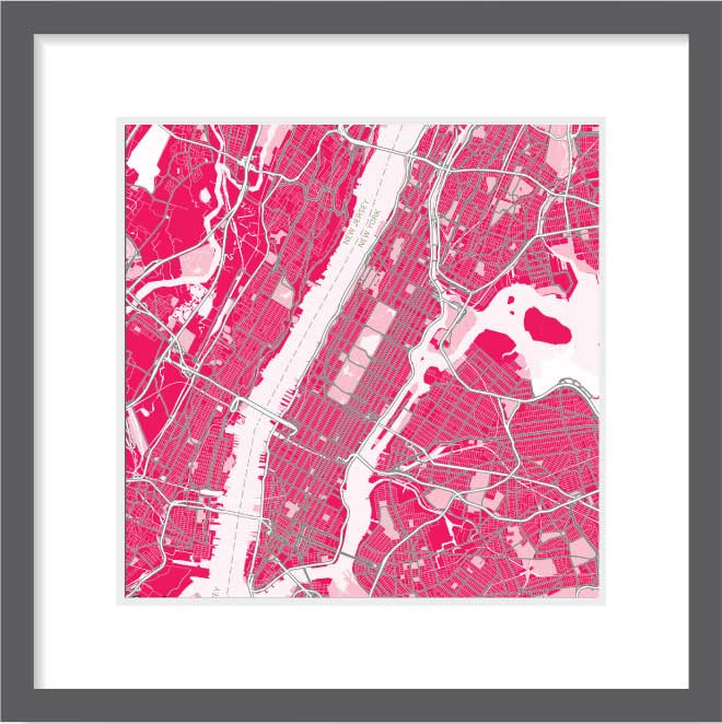 Matt print 30cm x 30cm New-York Strawberry Milk