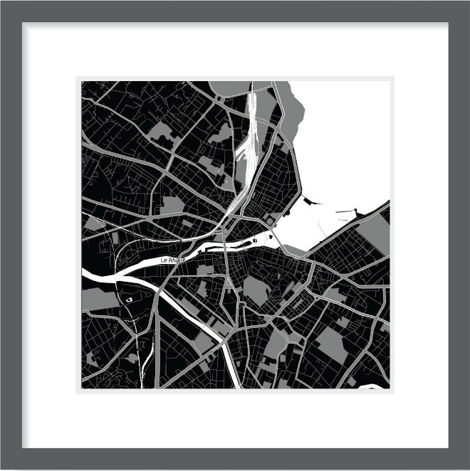 Matt print 30cm x 30cm Geneva Night