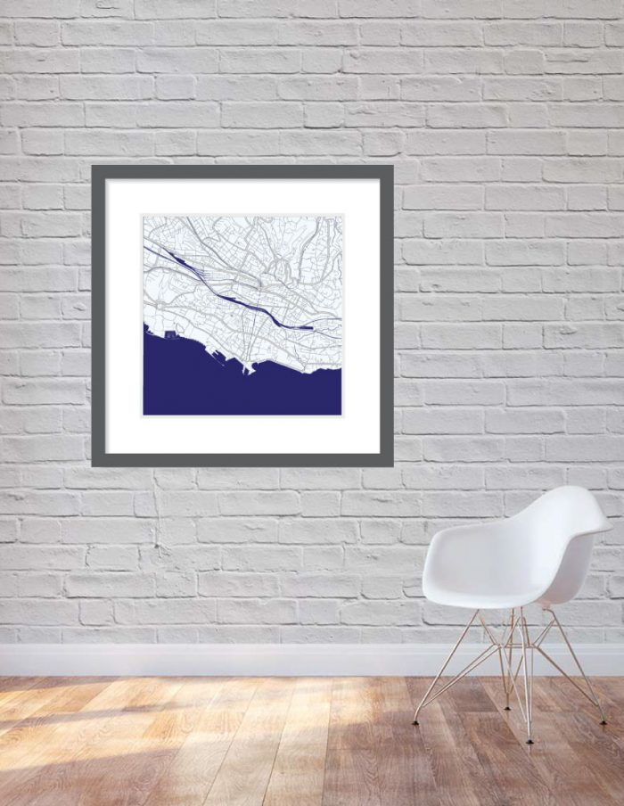 Matt print 90cm x 90cm Lausanne Blue Night