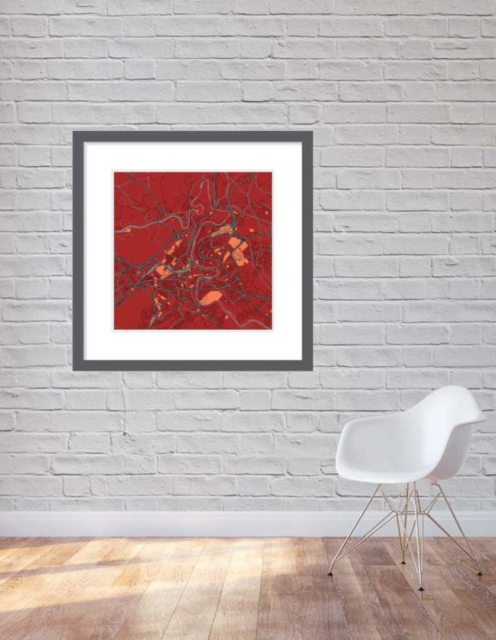 Matt print 90cmx90cm Bern Stylish Red Brick