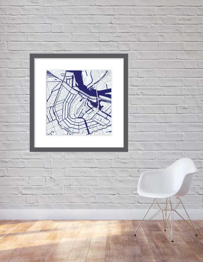 Matt print 90cmx90cm Amsterdam Blue Night