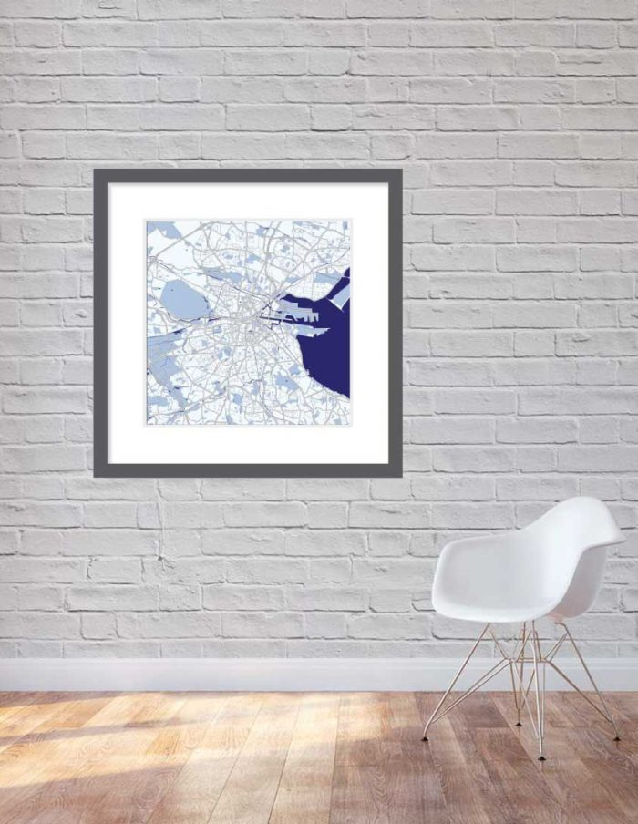 Matt print 90cmx90cm Dublin Blue Night