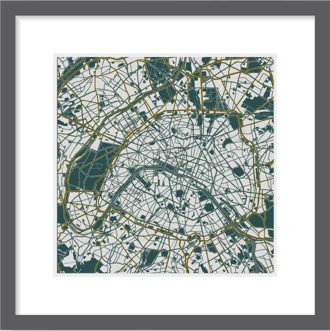 Matt print 30cmx30cm Paris Emerald green