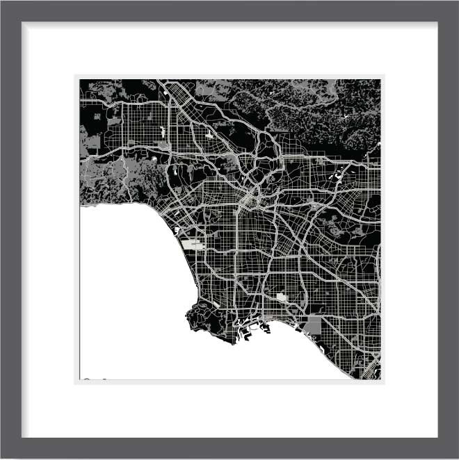 Matt print 30cm x 30cm Los-Angeles Night