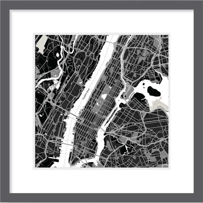 Matt print 30cm x 30cm new york night