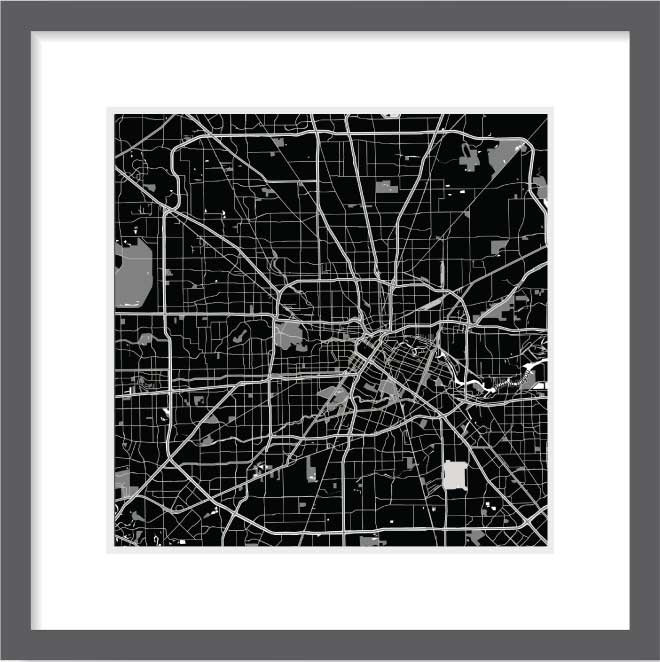 Matt print 30cm x 30cm Houston Night