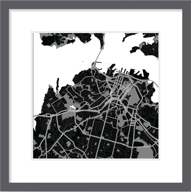 Matt print 30cm x 30cm Auckland Night