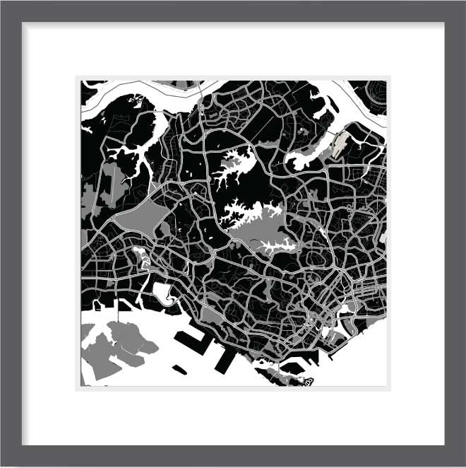 Matt print 30cm x 30cm singapore night