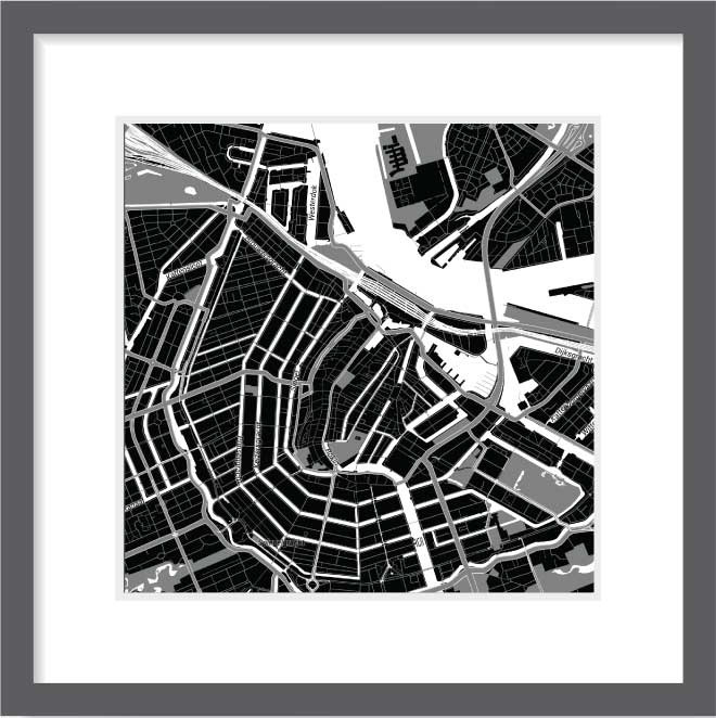 Matt print 30cm x 30cm Amsterdam Night