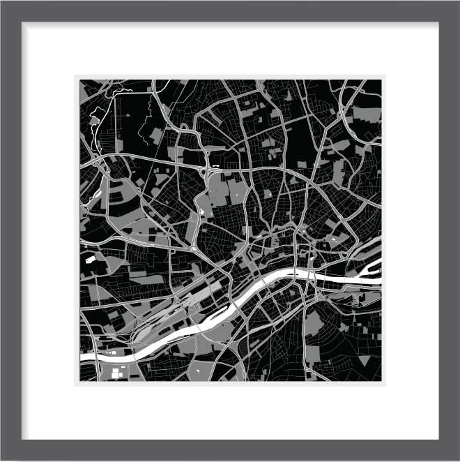 Matt print 30cm x 30cm Frankfurt Night