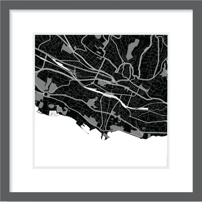 Matt print 30cm x 30cm lausanne night