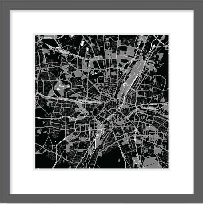 Matt print 30cm x 30cm Munich Night
