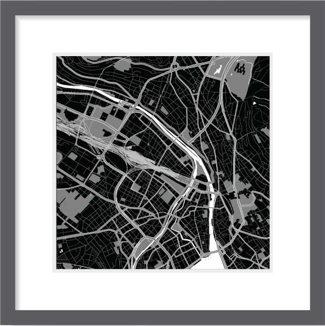 Matt print 30cm x 30cm Zurich Night