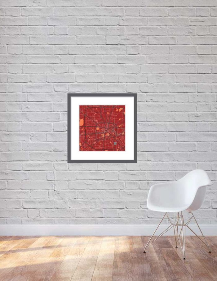 Impression matte 60x60cm Houston en couleur rouge brique