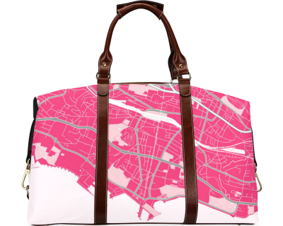 Map of Lausanne pink Flight Bag (Model1643)