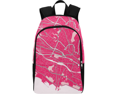 Map of Lausanne pink Adult Casual Backpack