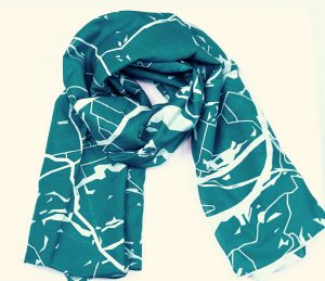 Cotton silk scarf Bern map