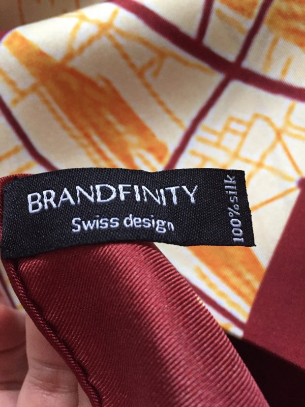 Brandfinity scarf with the map