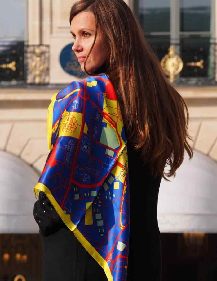 Barcelona map silk scarf
