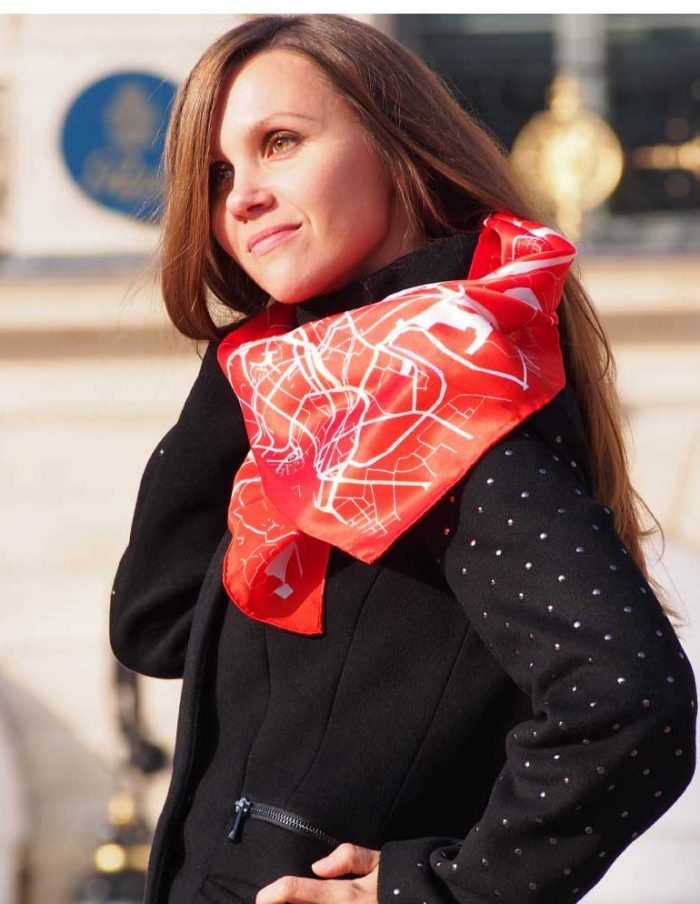 manchester red silk scarf