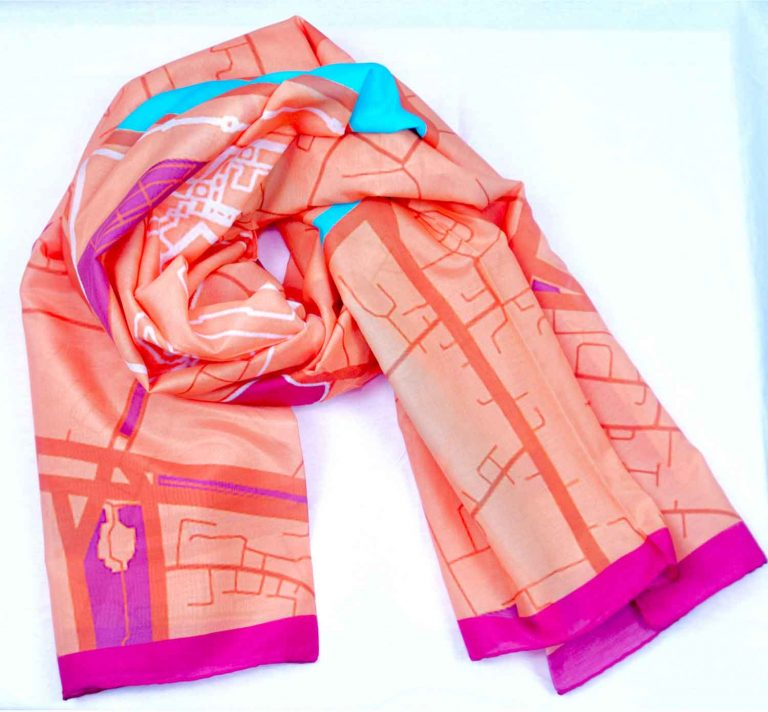 cooton silk scarf map of moscow