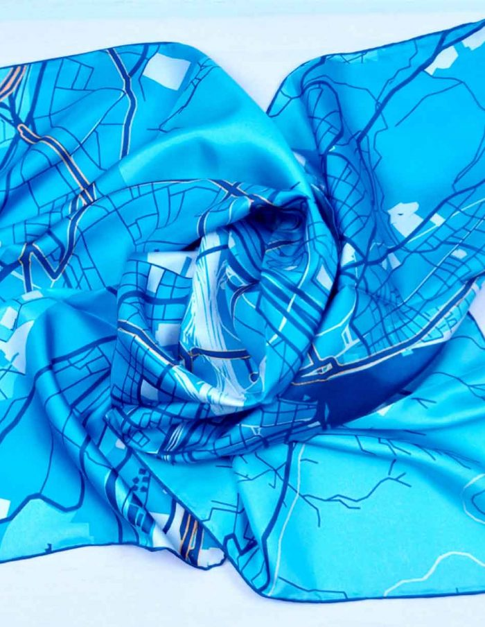 zurich map silk scarf