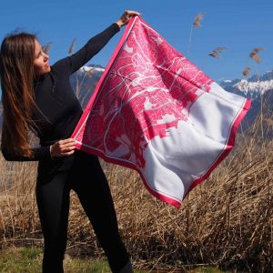 Lausanne map silk scarf