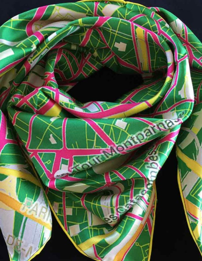 paris map green silk scarf
